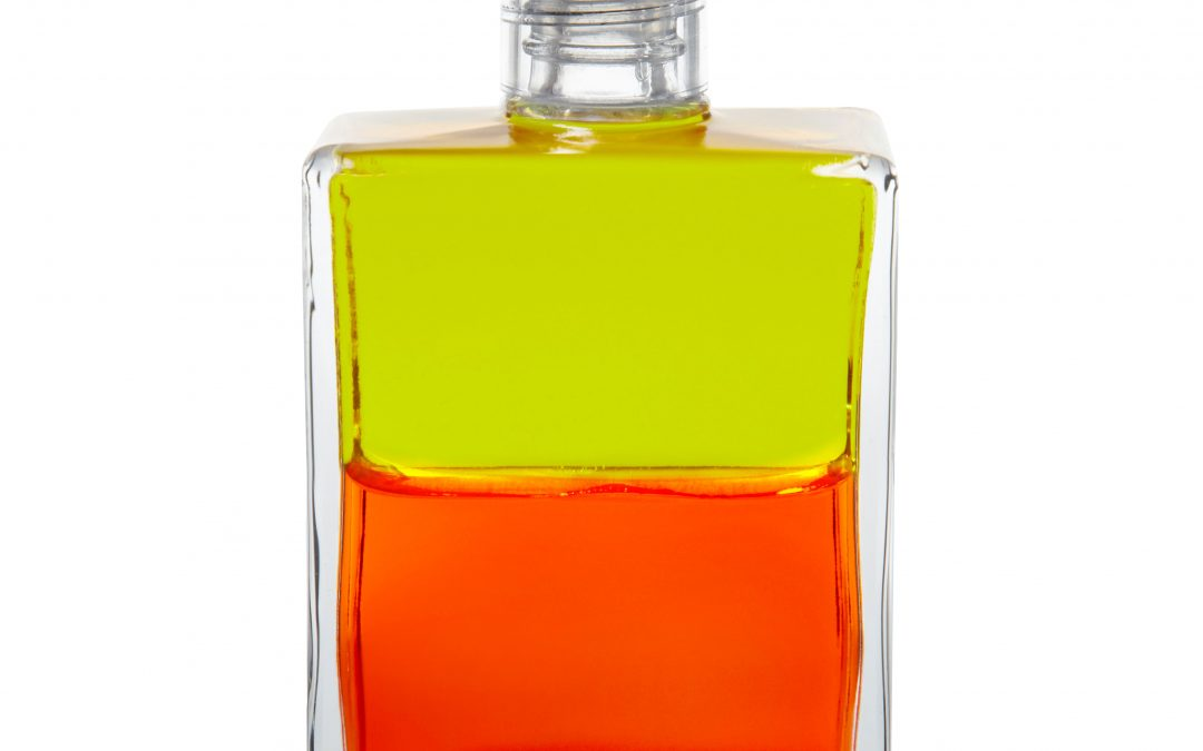 Nuova Equilibrium Aura-Soma®: B121 – Plutone, Verde Lime su Arancione
